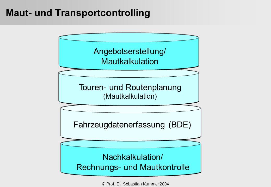 © Prof. Dr. Sebastian Kummer 2004 Nachkalkulation/ Rechnungs- und Mautkontrolle Fahrzeugdatenerfassung (BDE) Touren- und Routenplanung (Mautkalkulatio