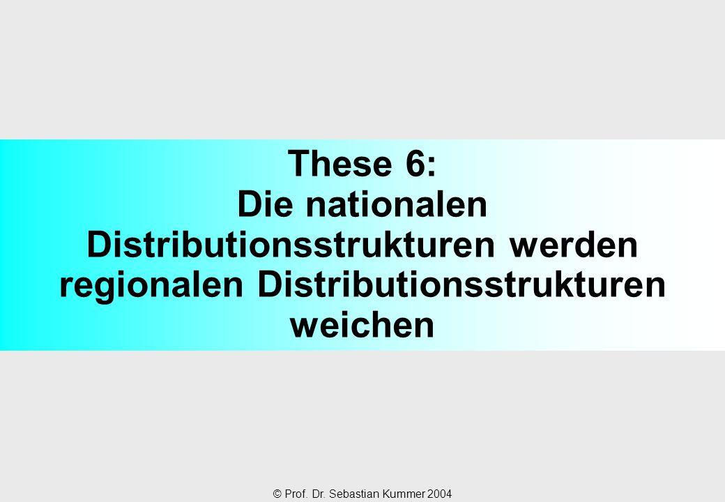 © Prof. Dr. Sebastian Kummer 2004 These 6: Die nationalen Distributionsstrukturen werden regionalen Distributionsstrukturen weichen