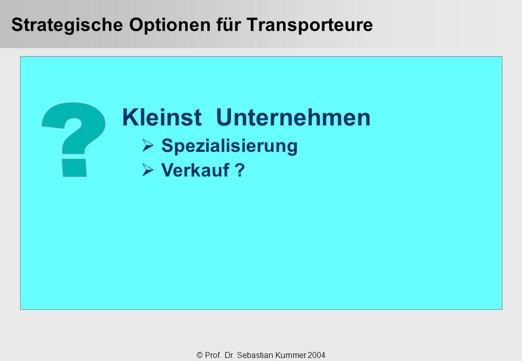 © Prof. Dr. Sebastian Kummer 2004 Strategische Optionen für Transporteure Kleinst Unternehmen  Spezialisierung  Verkauf ?