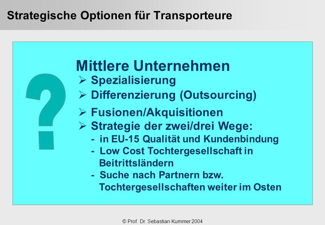 © Prof. Dr. Sebastian Kummer 2004 Strategische Optionen für Transporteure Mittlere Unternehmen  Spezialisierung  Differenzierung (Outsourcing)  Fus