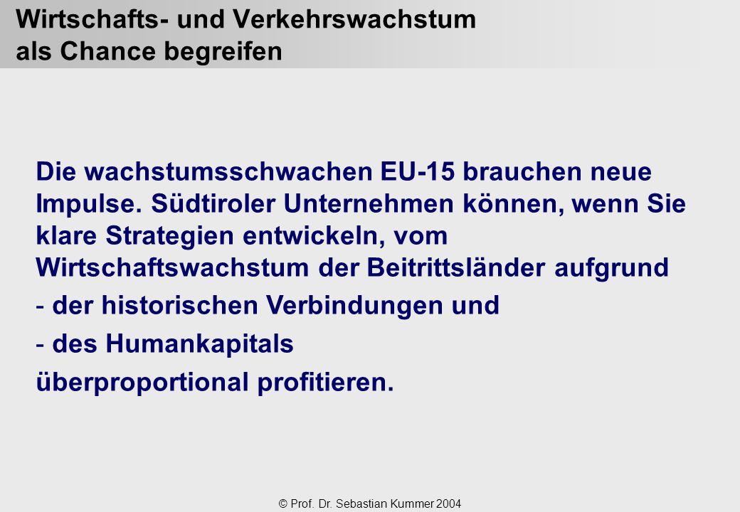 © Prof. Dr. Sebastian Kummer 2004 Wirtschafts- und Verkehrswachstum als Chance begreifen Die wachstumsschwachen EU-15 brauchen neue Impulse. Südtirole