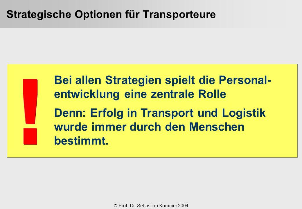 © Prof. Dr. Sebastian Kummer 2004 Strategische Optionen für Transporteure Bei allen Strategien spielt die Personal- entwicklung eine zentrale Rolle De