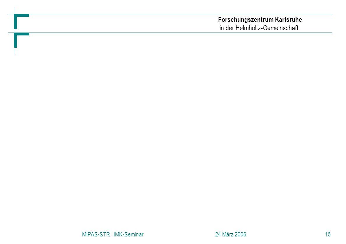 Forschungszentrum Karlsruhe in der Helmholtz-Gemeinschaft MIPAS-STR IMK-Seminar 24 März 200615