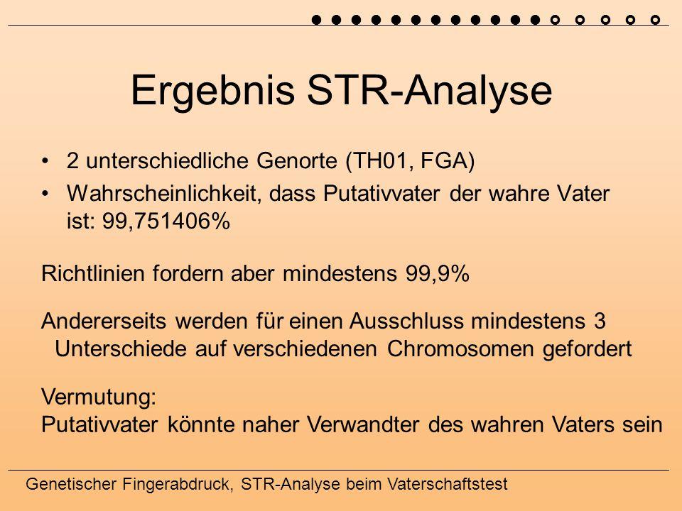 Genetischer Fingerabdruck, STR-Analyse beim Vaterschaftstest Ergebnis STR-Analyse 2 unterschiedliche Genorte (TH01, FGA) Wahrscheinlichkeit, dass Puta