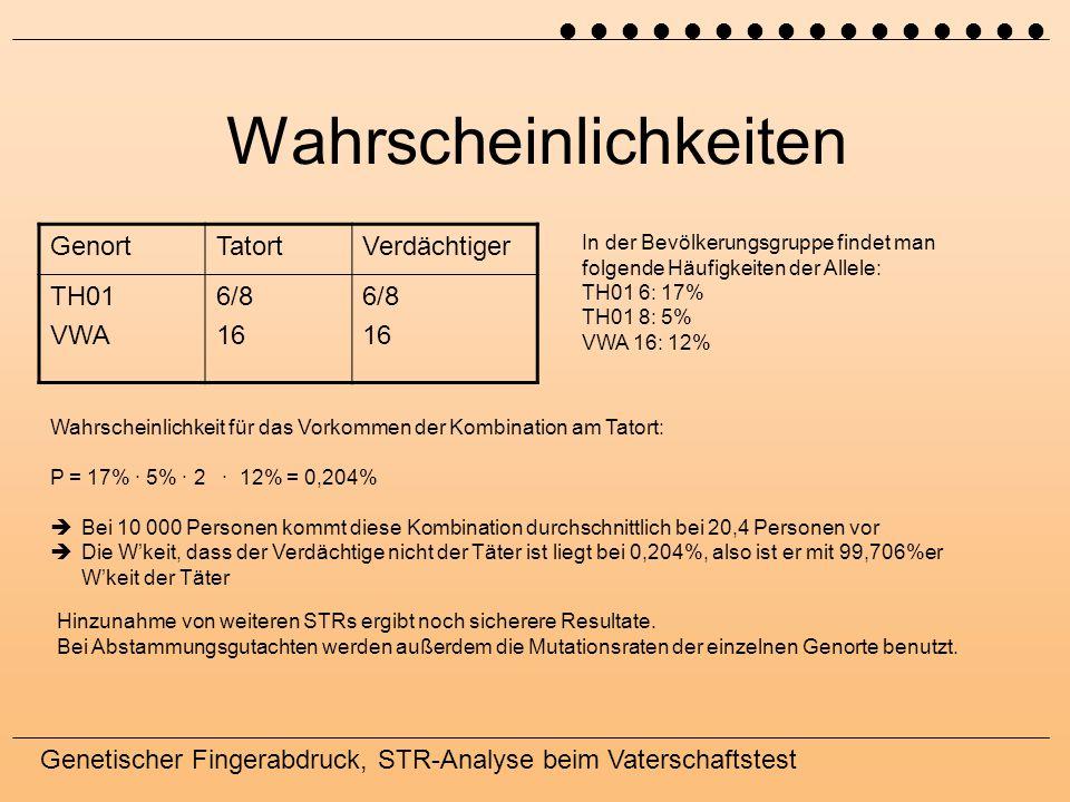 Genetischer Fingerabdruck, STR-Analyse beim Vaterschaftstest Wahrscheinlichkeiten GenortTatortVerdächtiger TH01 VWA 6/8 16 6/8 16 In der Bevölkerungsg