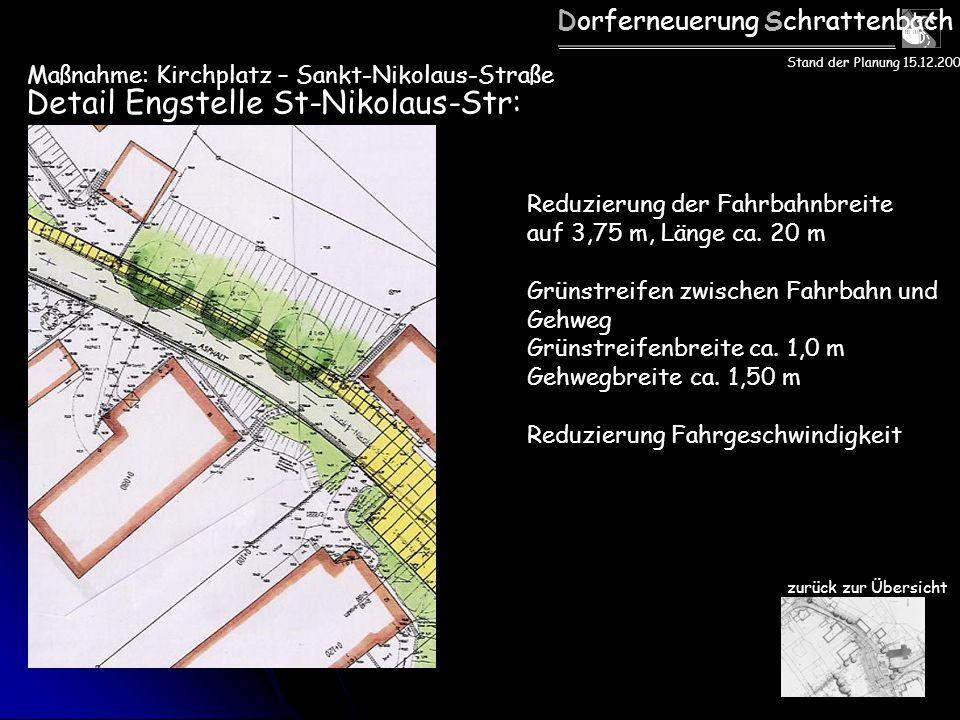 Dorferneuerung Schrattenbach Detail Engstelle St-Nikolaus-Str: Reduzierung der Fahrbahnbreite auf 3,75 m, Länge ca. 20 m Grünstreifen zwischen Fahrbah