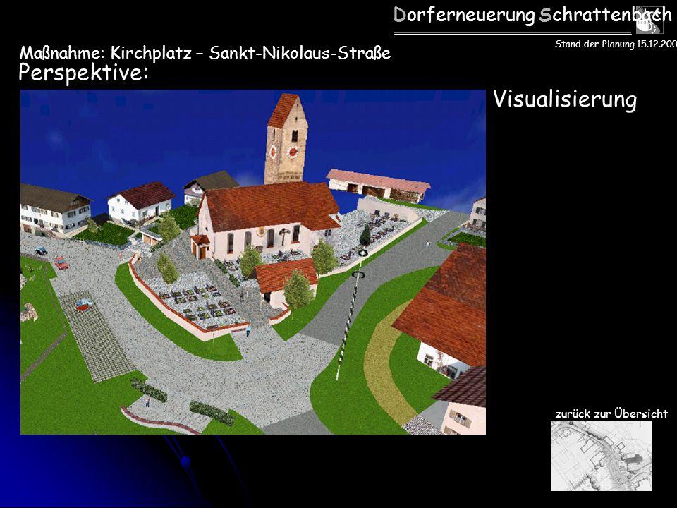 Dorferneuerung Schrattenbach Perspektive: zurück zur Übersicht Stand der Planung 15.12.2005 Visualisierung Maßnahme: Kirchplatz – Sankt-Nikolaus-Straß