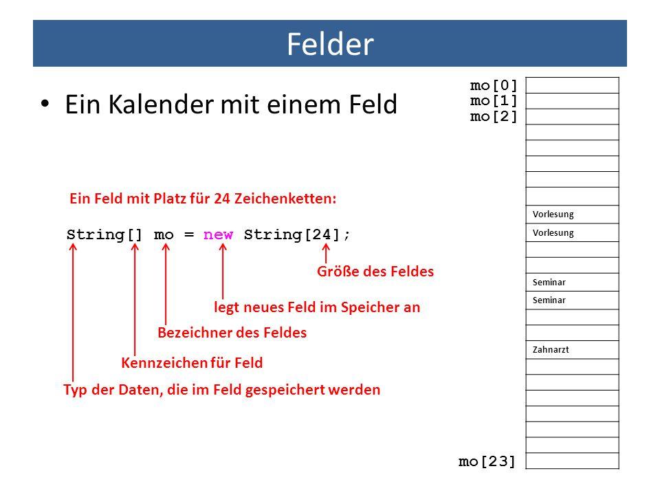 Felder Ein Kalender mit einem Feld Ein Feld mit Platz für 24 Zeichenketten: Vorlesung Seminar Zahnarzt mo[0] mo[1] mo[2] mo[23] Typ der Daten, die im
