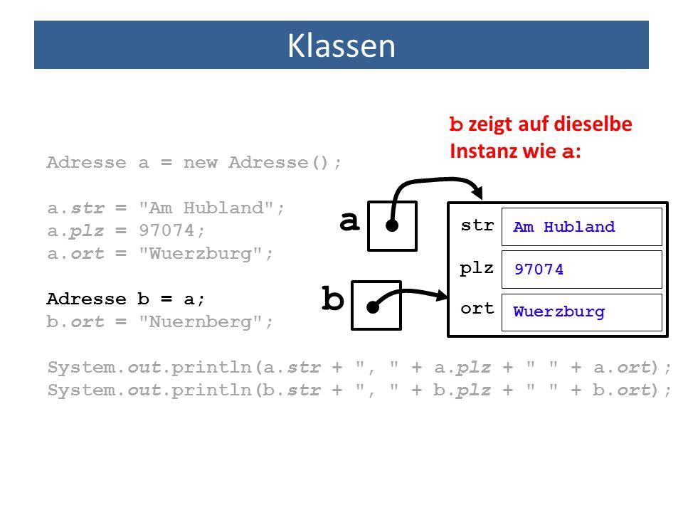 Klassen Adresse a = new Adresse(); a.str =