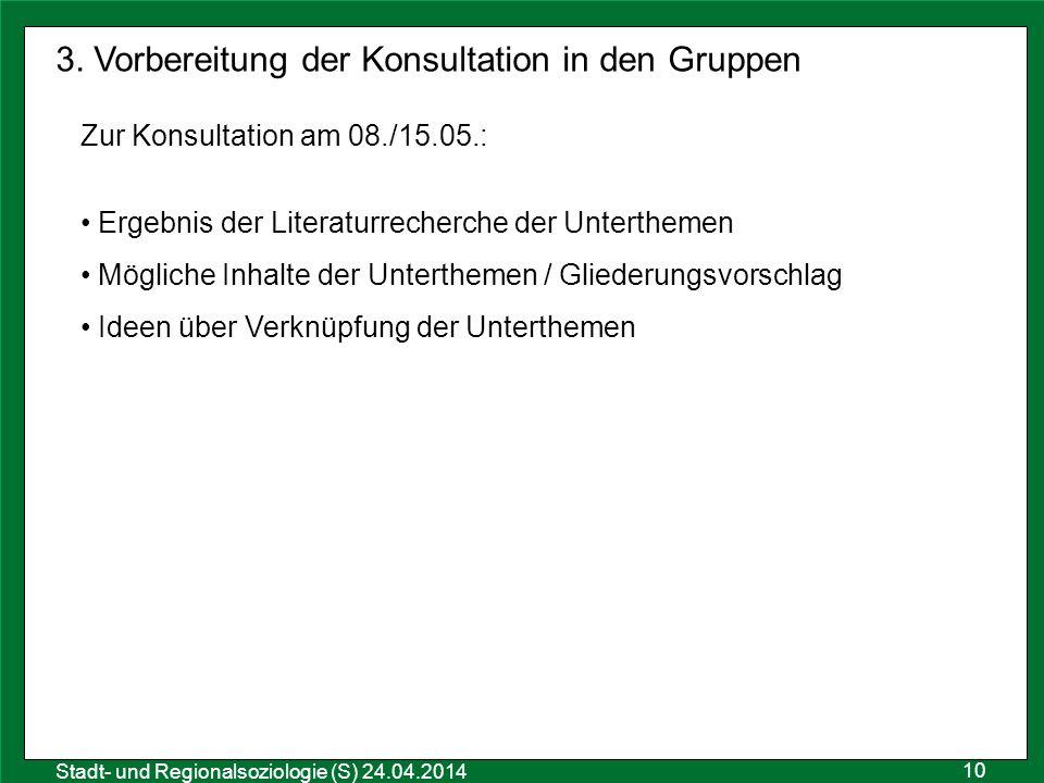 10 Sozialraumanalyse 25.10.2011 Stadt- und Regionalsoziologie (S) 24.04.2014 3. Vorbereitung der Konsultation in den Gruppen Zur Konsultation am 08./1