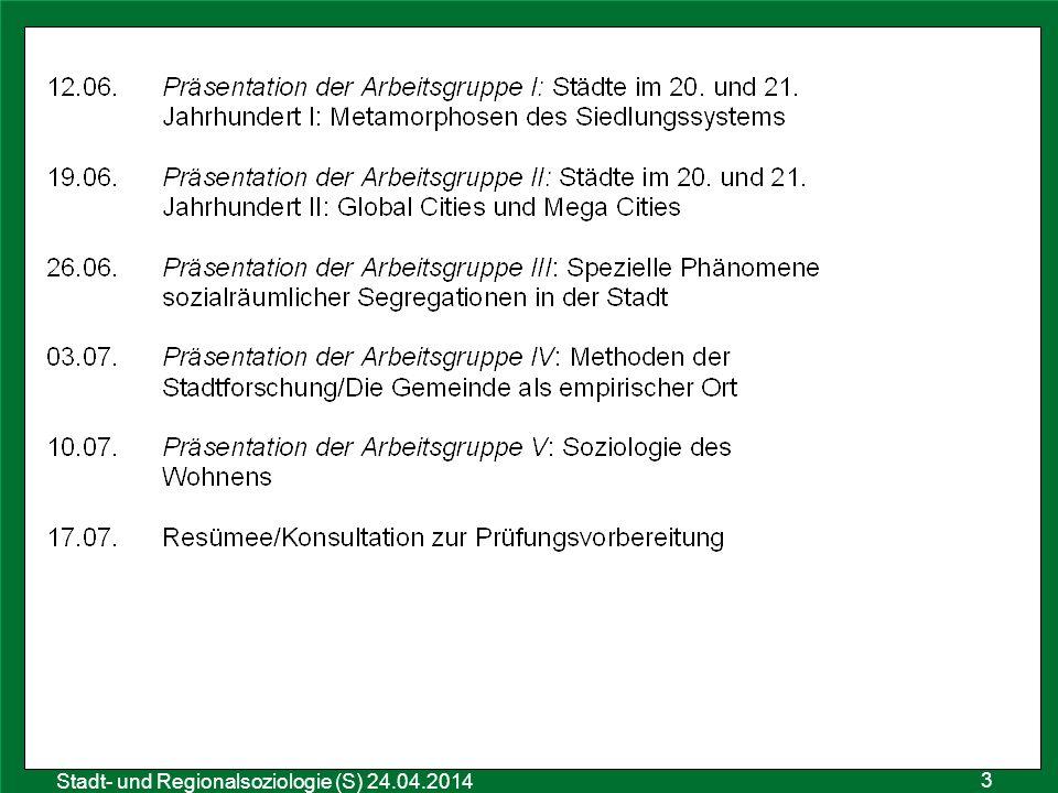 4 Sozialraumanalyse 25.10.2011 Stadt- und Regionalsoziologie (S) 24.04.2014 1.Textarbeit: Was ist eine Stadt.