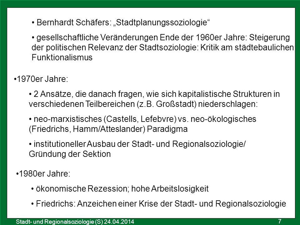 """7 Sozialraumanalyse 25.10.2011 Stadt- und Regionalsoziologie (S) 24.04.2014 Bernhardt Schäfers: """"Stadtplanungssoziologie"""" gesellschaftliche Veränderun"""