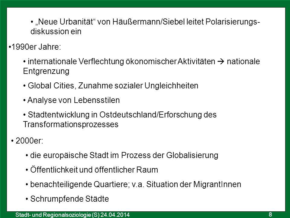"""8 Sozialraumanalyse 25.10.2011 Stadt- und Regionalsoziologie (S) 24.04.2014 """"Neue Urbanität"""" von Häußermann/Siebel leitet Polarisierungs- diskussion e"""