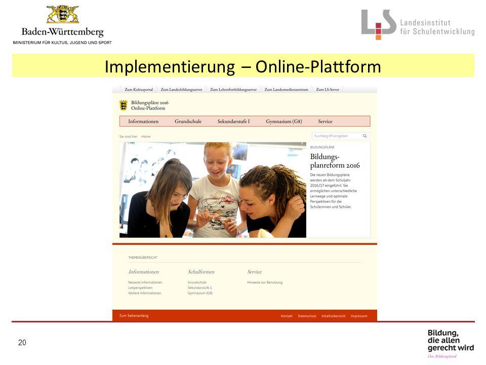 Implementierung – Online-Plattform 20
