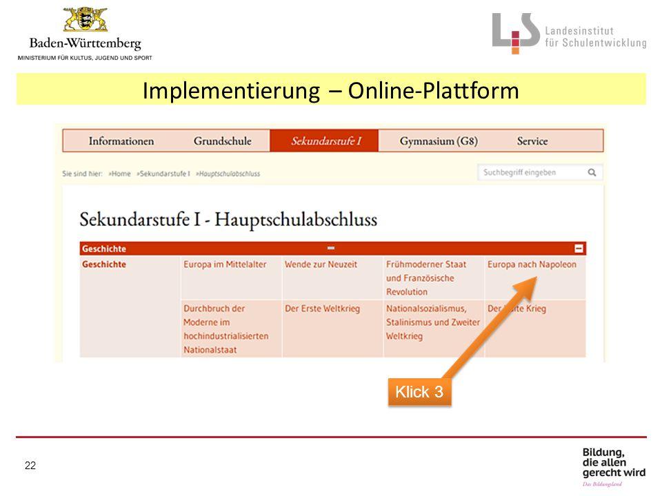 Implementierung – Online-Plattform Klick 3 22