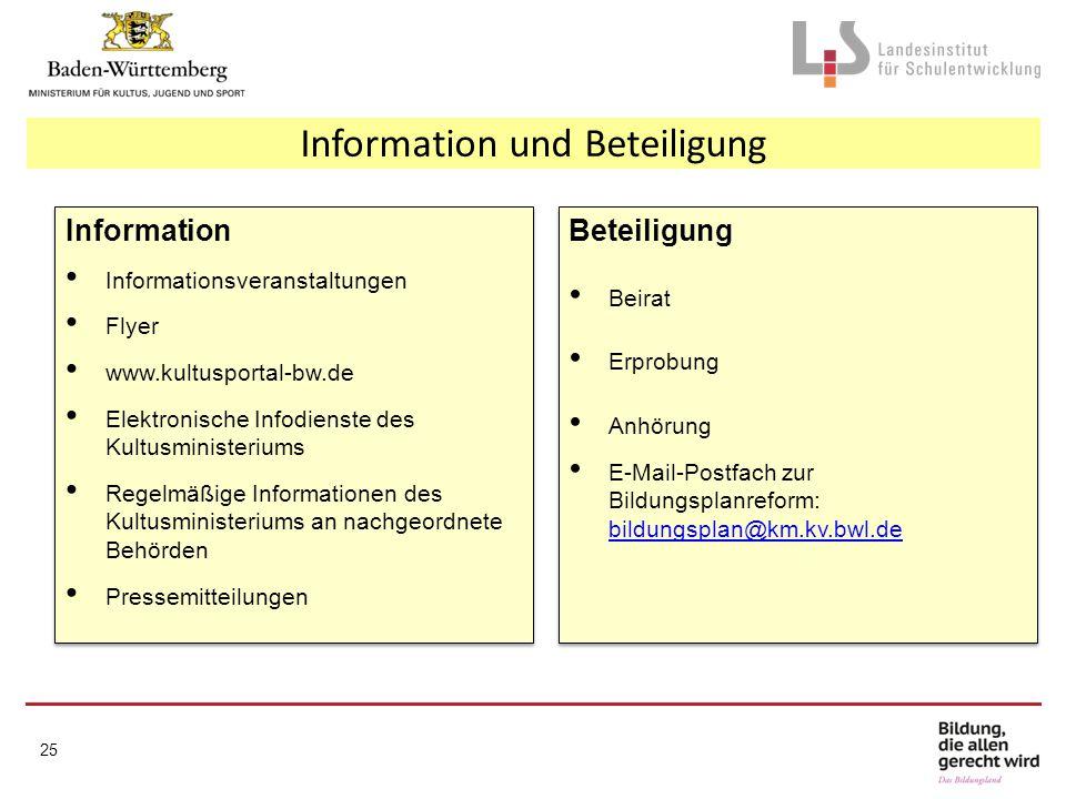 Information und Beteiligung Information Informationsveranstaltungen Flyer www.kultusportal-bw.de Elektronische Infodienste des Kultusministeriums Rege