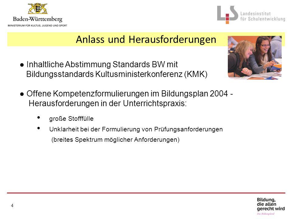 Anlass und Herausforderungen ● Inhaltliche Abstimmung Standards BW mit Bildungsstandards Kultusministerkonferenz (KMK) ● Offene Kompetenzformulierunge