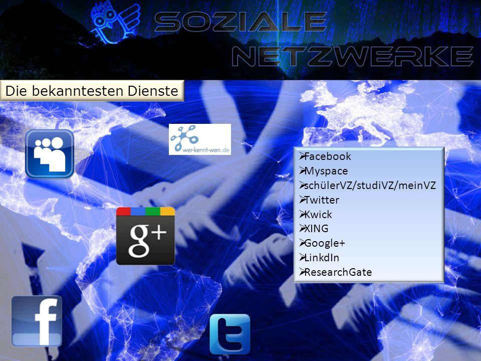 Die bekanntesten Dienste  Facebook  Myspace  schülerVZ/studiVZ/meinVZ  Twitter  Kwick  XING  Google+  LinkdIn  ResearchGate