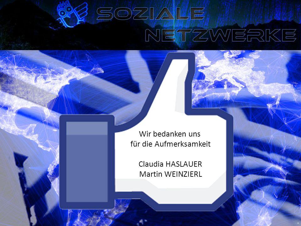 Wir bedanken uns für die Aufmerksamkeit Claudia HASLAUER Martin WEINZIERL