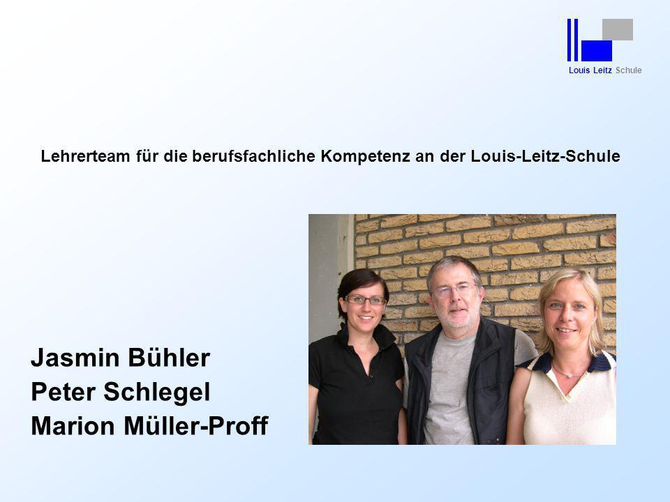 Louis Leitz Schule Lehrerteam für die berufsfachliche Kompetenz an der Louis-Leitz-Schule Jasmin Bühler Peter Schlegel Marion Müller-Proff