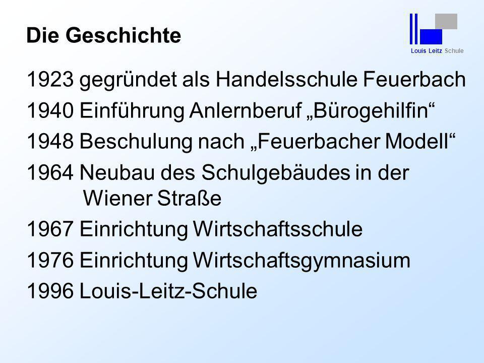 "Louis Leitz Schule Die Geschichte 1923 gegründet als Handelsschule Feuerbach 1940 Einführung Anlernberuf ""Bürogehilfin"" 1948 Beschulung nach ""Feuerbac"