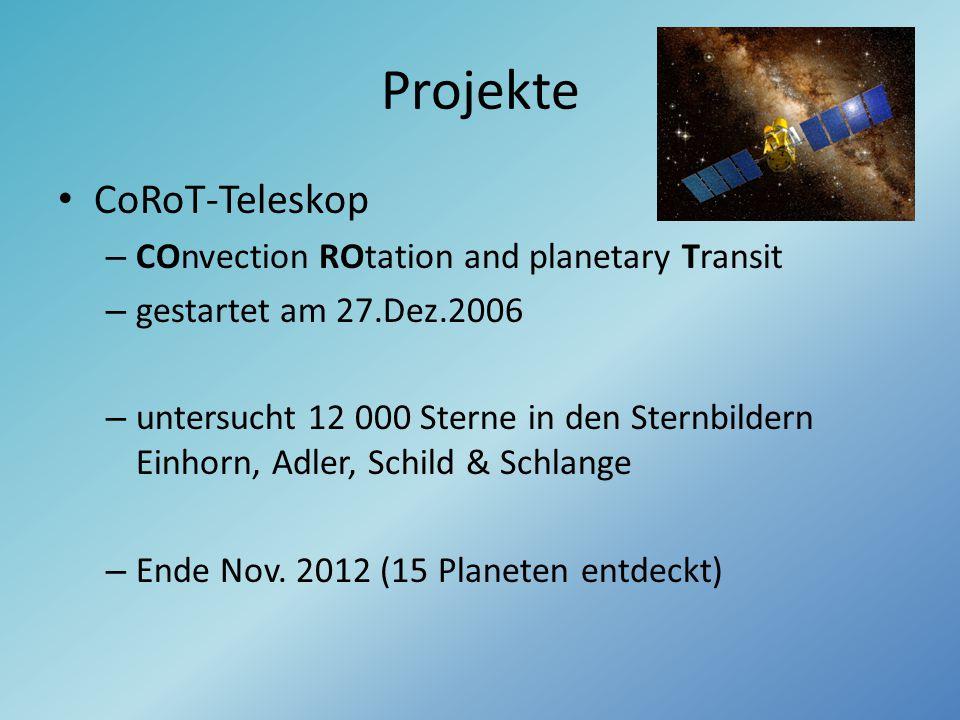 Projekte CoRoT-Teleskop – COnvection ROtation and planetary Transit – gestartet am 27.Dez.2006 – untersucht 12 000 Sterne in den Sternbildern Einhorn,