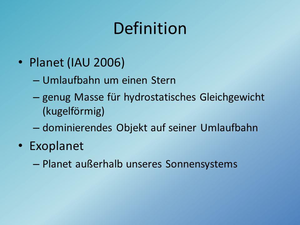 Definition Planet (IAU 2006) – Umlaufbahn um einen Stern – genug Masse für hydrostatisches Gleichgewicht (kugelförmig) – dominierendes Objekt auf sein