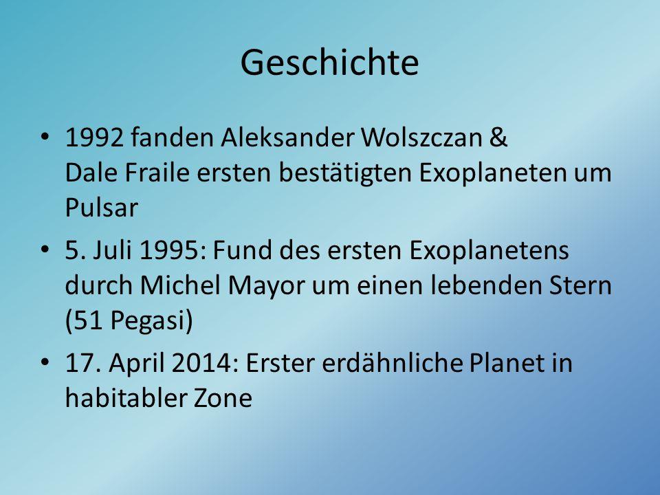 Geschichte 1992 fanden Aleksander Wolszczan & Dale Fraile ersten bestätigten Exoplaneten um Pulsar 5. Juli 1995: Fund des ersten Exoplanetens durch Mi