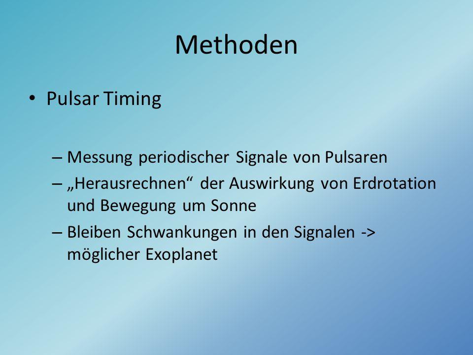 """Methoden Pulsar Timing – Messung periodischer Signale von Pulsaren – """"Herausrechnen"""" der Auswirkung von Erdrotation und Bewegung um Sonne – Bleiben Sc"""