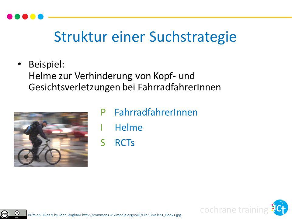 cochrane training Beispiel: Helme zur Verhinderung von Kopf- und Gesichtsverletzungen bei FahrradfahrerInnen Struktur einer Suchstrategie Brits on Bik