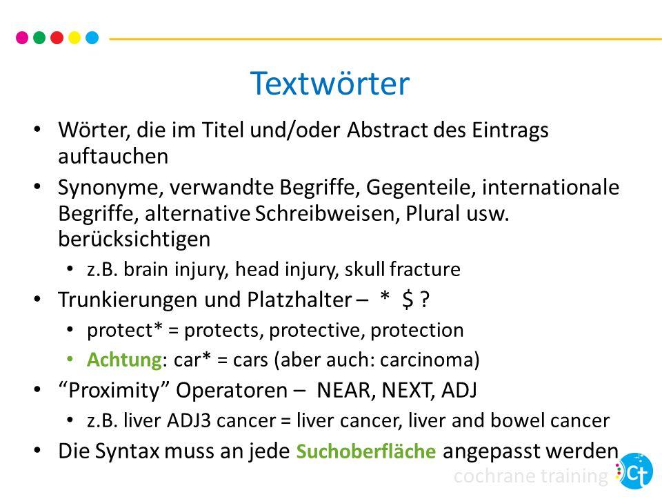 cochrane training Textwörter Wörter, die im Titel und/oder Abstract des Eintrags auftauchen Synonyme, verwandte Begriffe, Gegenteile, internationale B