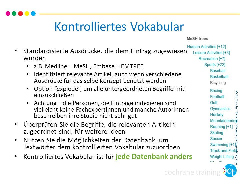 cochrane training Kontrolliertes Vokabular Standardisierte Ausdrücke, die dem Eintrag zugewiesen wurden z.B. Medline = MeSH, Embase = EMTREE Identifiz
