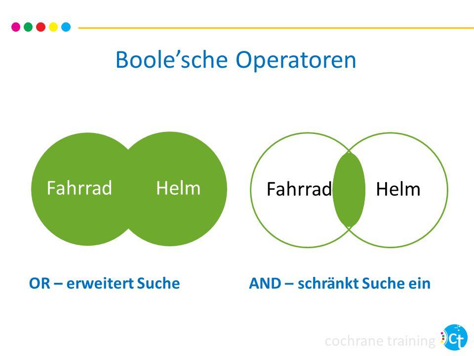 cochrane training Boole'sche Operatoren FahrradHelmFahrradHelm OR – erweitert Suche AND – schränkt Suche ein
