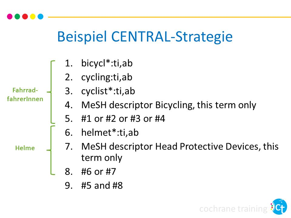 cochrane training Beispiel CENTRAL-Strategie 1.bicycl*:ti,ab 2.cycling:ti,ab 3.cyclist*:ti,ab 4.MeSH descriptor Bicycling, this term only 5.#1 or #2 o