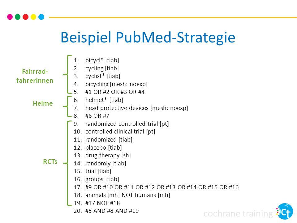 cochrane training Beispiel PubMed-Strategie 1.bicycl* [tiab] 2.cycling [tiab] 3.cyclist* [tiab] 4.bicycling [mesh: noexp] 5.#1 OR #2 OR #3 OR #4 6.hel