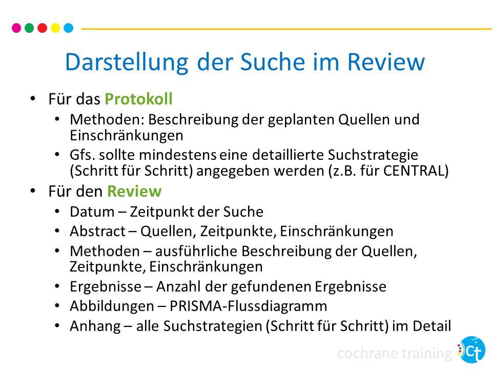 cochrane training Darstellung der Suche im Review Für das Protokoll Methoden: Beschreibung der geplanten Quellen und Einschränkungen Gfs. sollte minde