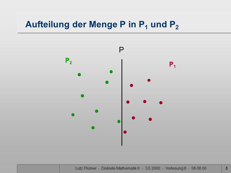 """Lutz Plümer - Diskrete Mathematik II - SS 2000 - Vorlesung 8 - 08.06.002 Konstruktion des Voronoi-Diagramms """"Divide and Conquer"""" 1.Input: Gegeben ist"""