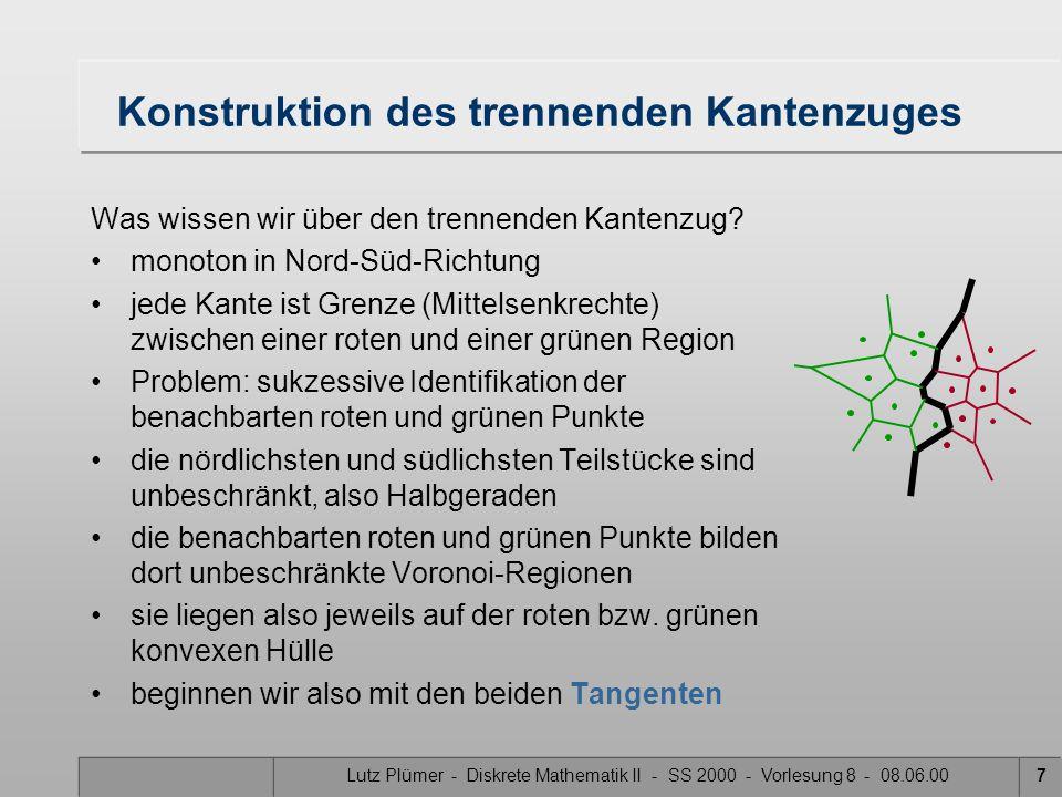 Lutz Plümer - Diskrete Mathematik II - SS 2000 - Vorlesung 8 - 08.06.007 Konstruktion des trennenden Kantenzuges Was wissen wir über den trennenden Kantenzug.
