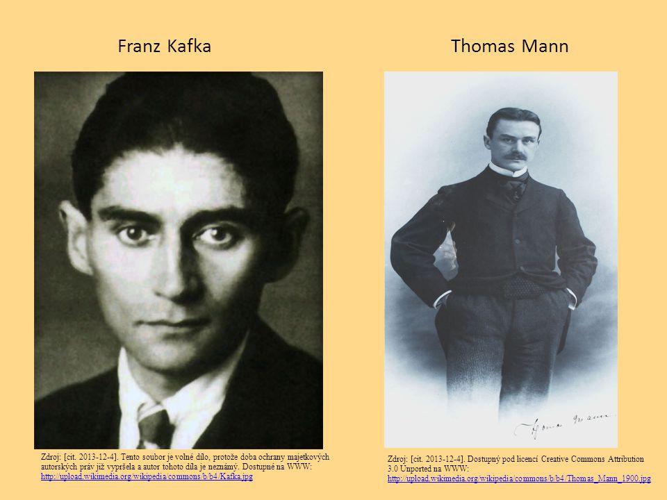 Franz KafkaThomas Mann Zdroj: [cit. 2013-12-4]. Tento soubor je volné dílo, protože doba ochrany majetkových autorských práv již vypršela a autor toho