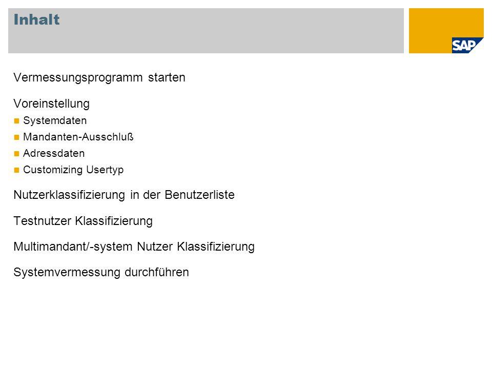 Systemvermessung durchführen 1.Durchführen einer neuen Systemvermessung 2.Anzeigen der Ergebnisse als Protokoll 3.Onlineübertragen der Ergebnisse an SAP 1.