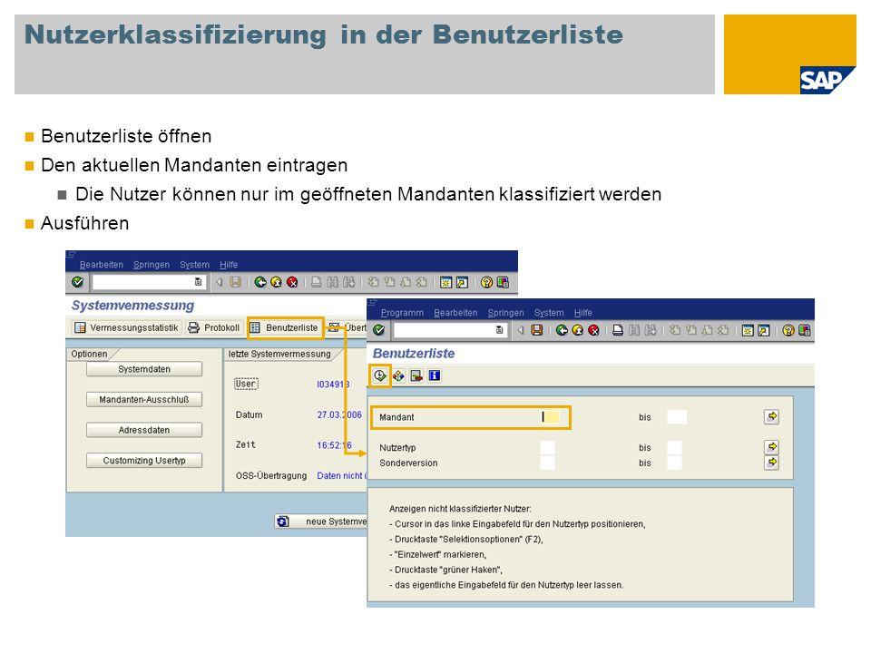 Nutzerklassifizierung in der Benutzerliste Nutzer klassifizieren Doppelklick auf einen Nutzernamen Den vertraglichen Nutzertyp aus der Eingabehilfeliste auswählen Klassifizieren aller Nutzer gemäß der vertraglichen Nutzung E-ASL-Pflichtig: Nein