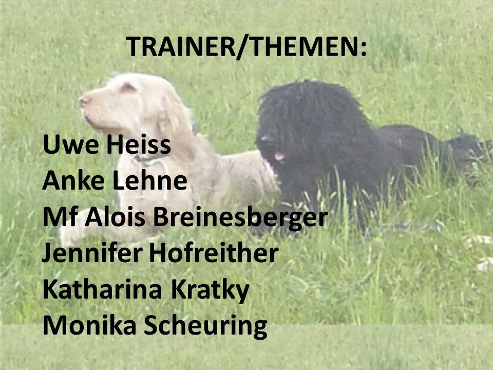 TRAINER/THEMEN: Uwe Heiss Anke Lehne Mf Alois Breinesberger Jennifer Hofreither Katharina Kratky Monika Scheuring