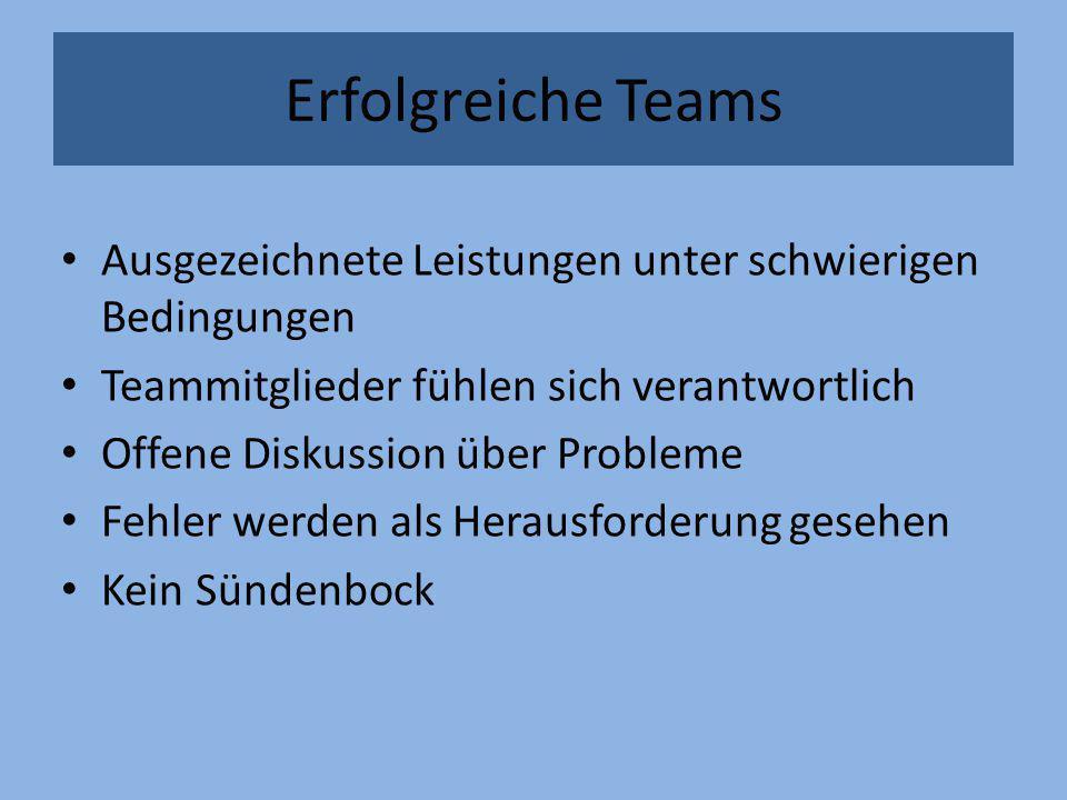 Erfolgreiche Teams Ausgezeichnete Leistungen unter schwierigen Bedingungen Teammitglieder fühlen sich verantwortlich Offene Diskussion über Probleme F