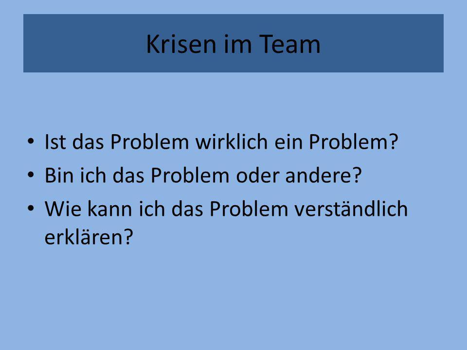 Krisen im Team Ist das Problem wirklich ein Problem? Bin ich das Problem oder andere? Wie kann ich das Problem verständlich erklären?