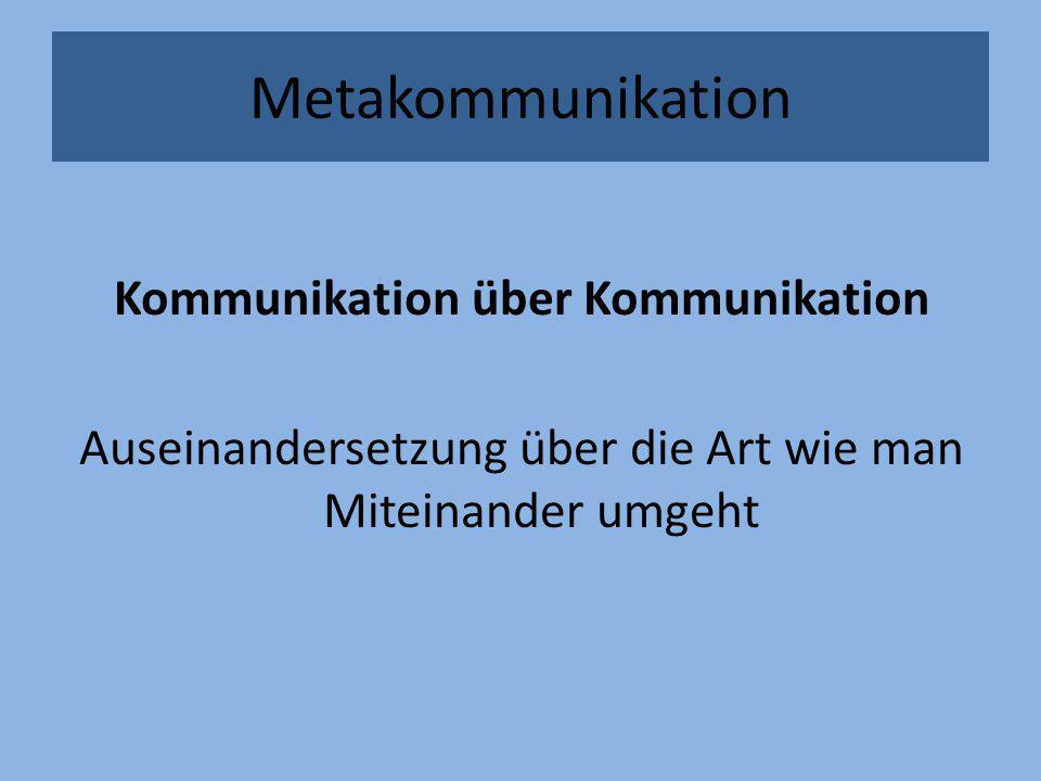 Metakommunikation Kommunikation über Kommunikation Auseinandersetzung über die Art wie man Miteinander umgeht