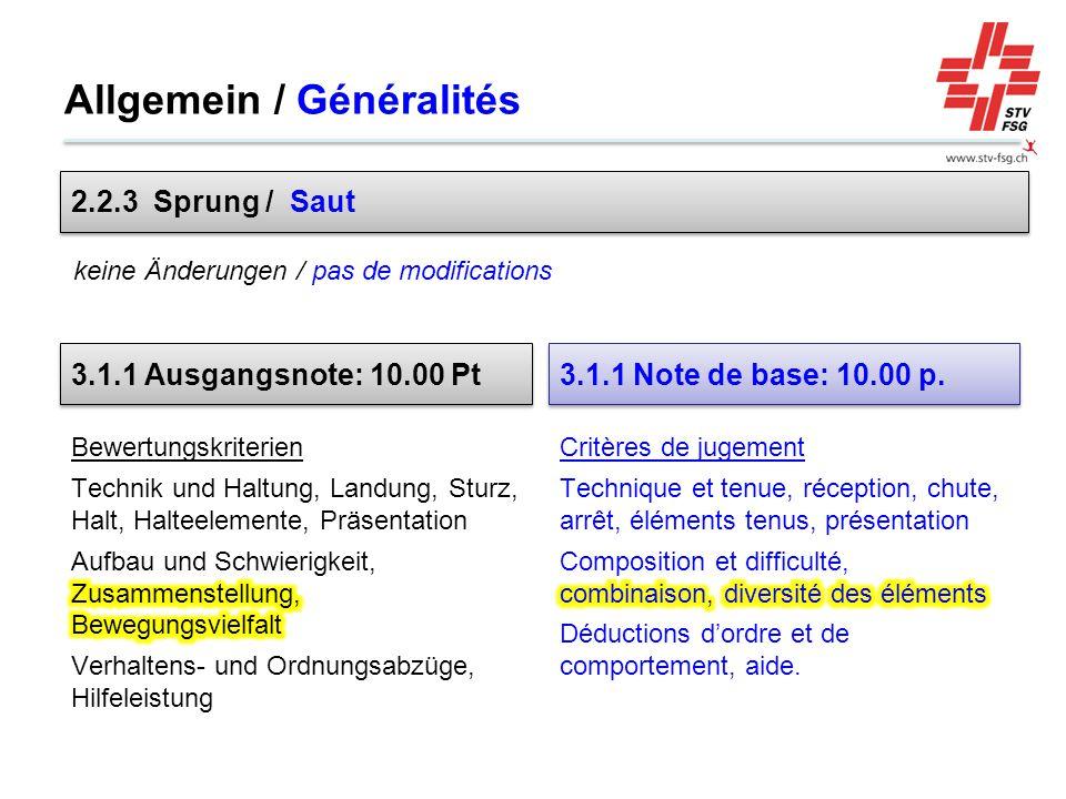 Allgemein / Généralités 2.2.3 Sprung / Saut keine Änderungen / pas de modifications 3.1.1 Ausgangsnote: 10.00 Pt 3.1.1 Note de base: 10.00 p.
