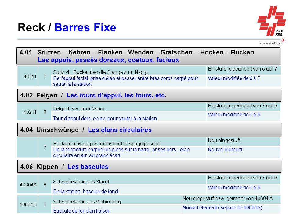 Reck / Barres Fixe 401117 Stütz vl., Bücke über die Stange zum Nsprg. Einstufung geändert von 6 auf 7 De l'appui facial, prise d'élan et passer entre-