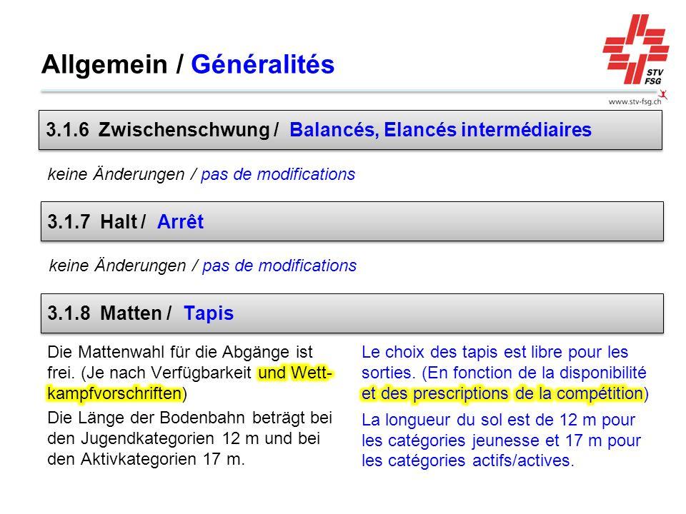 Allgemein / Généralités keine Änderungen / pas de modifications