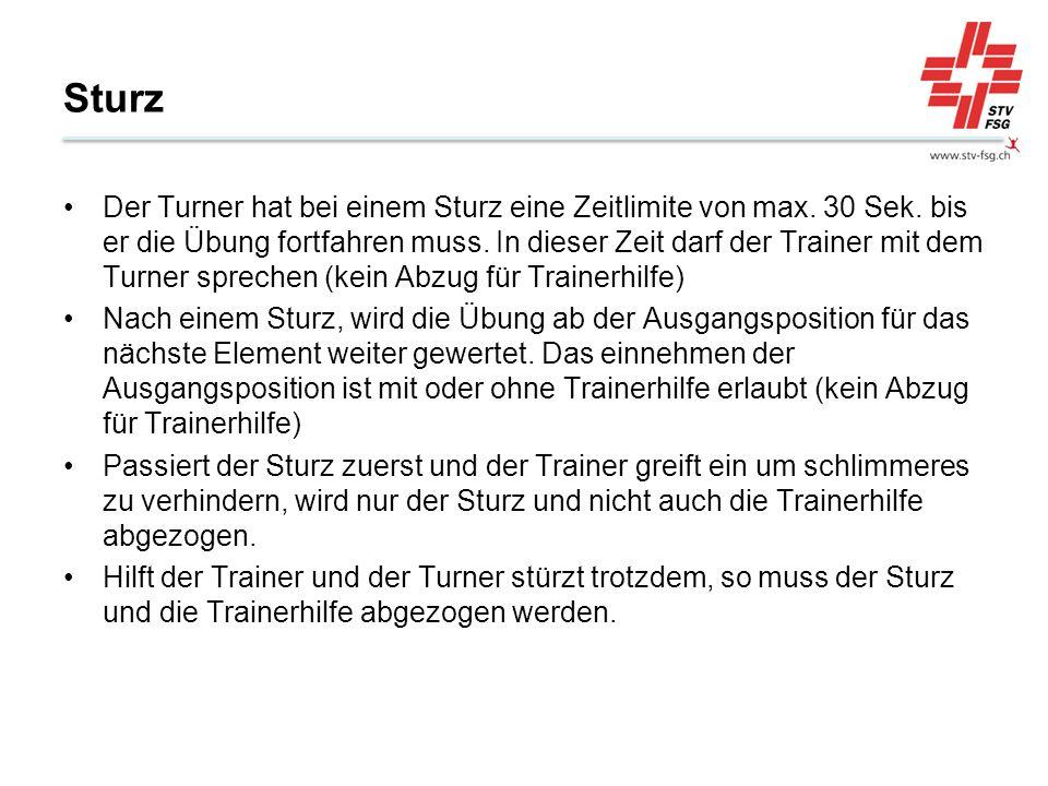 Sturz Der Turner hat bei einem Sturz eine Zeitlimite von max. 30 Sek. bis er die Übung fortfahren muss. In dieser Zeit darf der Trainer mit dem Turner
