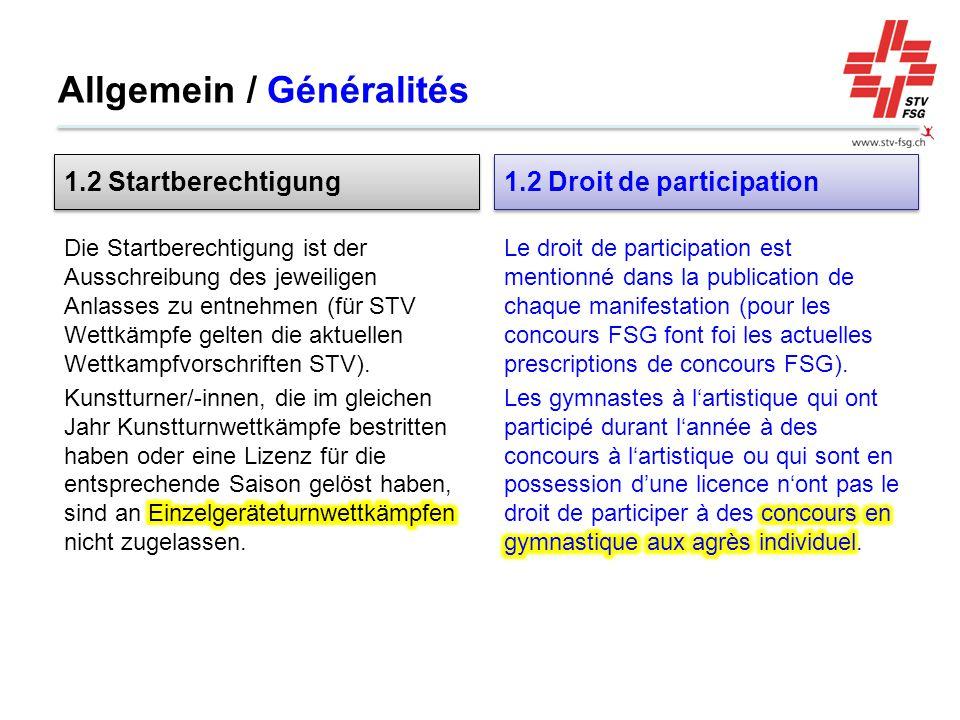 Allgemein / Généralités 1.2 Startberechtigung 1.2 Droit de participation